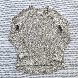 LOFT Oatmeal Hi-Lo Crew Neck Pullover Sweater